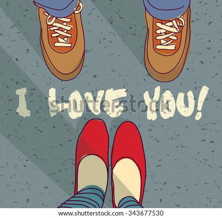 I love you sign young couple card. Woman and man foots and sign I love you. Color vector illustration. EPS8  - stock vector