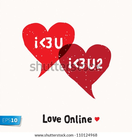 I love You Social Networking Speech Bubbles, vector Eps10 illustration. - stock vector