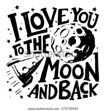 love you moon back motivational poster stock vector royalty free