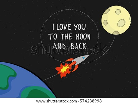I love you to the moon and back quote card