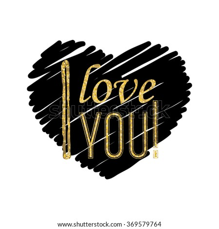 I love you - typographic lettering on black heart - stock vector