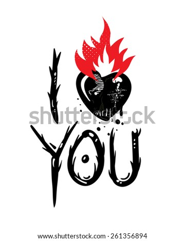 I Love You. Valentine card - stock vector