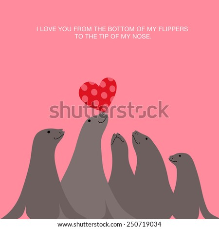 I love you valentine's day card design with  sea lions seals balancing heart on nose - stock vector
