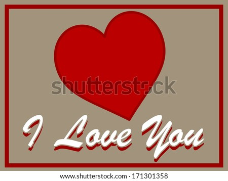 I Love You Valentine sign with heart
