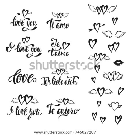 I Love You Vector Set Of Hand Drawn Lettering Phrases In English German