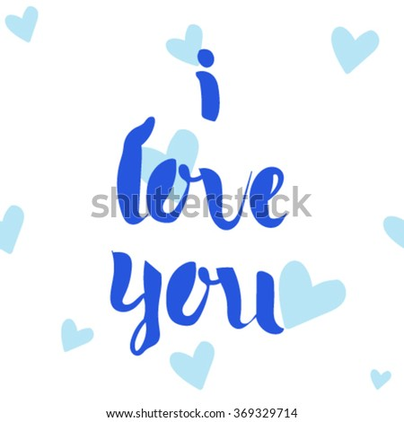I love you, Wedding postcard. I love you lettering. I love you postcard. I love you vector. Seamless hearts background. - stock vector