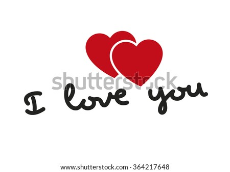 I love you words with two hearts in red. Valentines day, love concept. Love symbol - stock vector