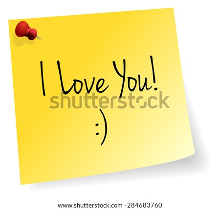 I Love You Yellow Stick Note Paper Vector - stock vector