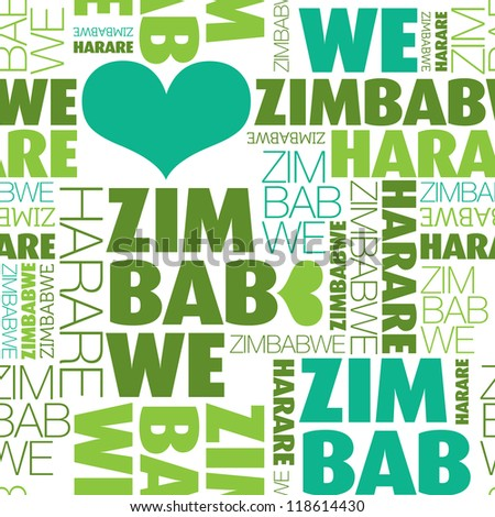 love Zimbabwe Harare seamless typography background pattern in ...