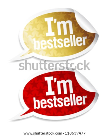 I`m bestseller stickers in form of speech bubbles.