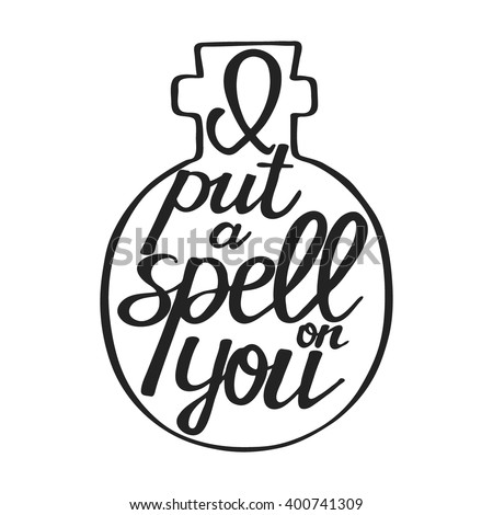 Hand Drawn Text   Halloween Calligraphic Quote. This