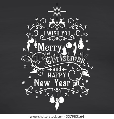 I wish you a Merry Christmas lettering on chalkboard background. Congratulations card. Vector illustration - stock vector