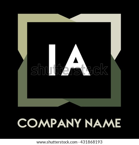 IA letters business logo creative  icon design template elements in abstract background logo, design identity in square with four colors, modern alphabet letters