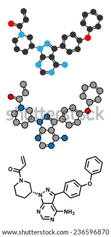 Ibrutinib cancer drug molecule. Used in treatment of mantle cell lymphoma and chronic lymphocytic leukemia (CLL). Conventional skeletal formula and stylized representations. - stock vector