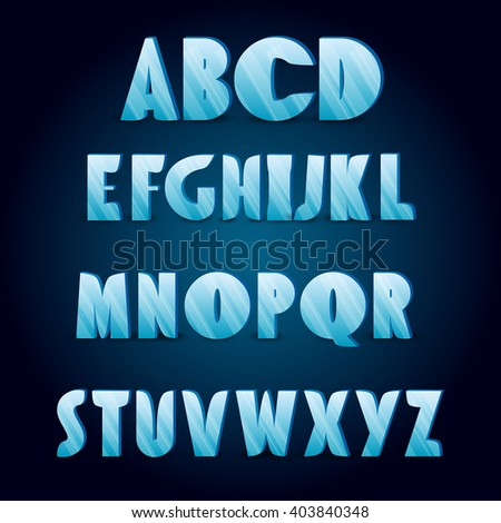 Ice alphabet. Collection of ice letters for your design - stock vector