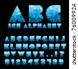 Ice Alphabet With Numbers - stock vector