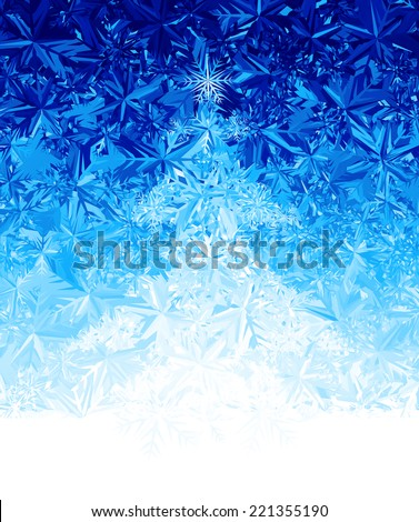 Ice background with cristmas tree. Eps8. RGB. Global colors. Gradients used. - stock vector