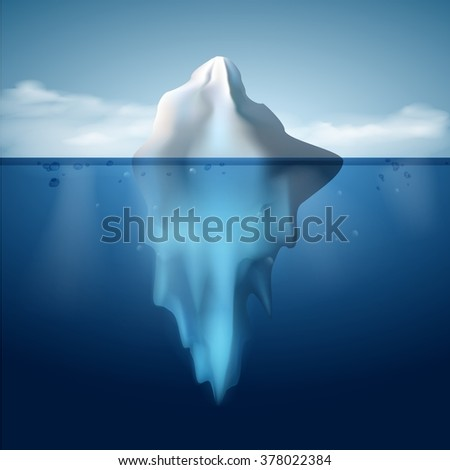 Ice berg on water concept vector background. Vector illustration. - stock vector