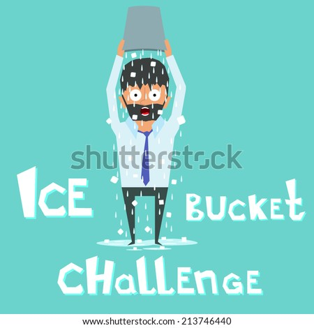 Ice Bucket Challenge Charity Activity. social action unites people in the fight against the disease. vector illustration. - stock vector
