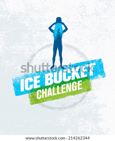 Ice Bucket Challenge Social Media Charity Activity. Creative Vector Design Element on Grunge Background.  - stock vector