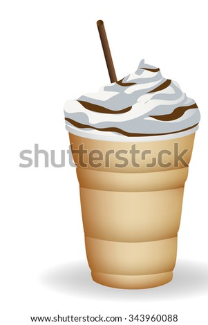 ice coffee  and cream vector