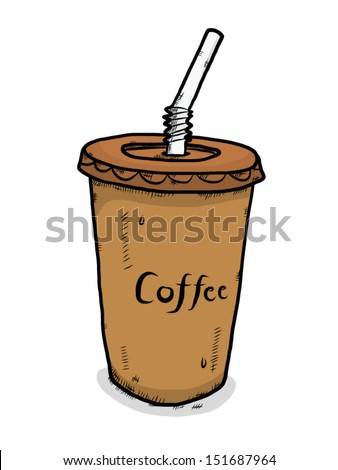 ice coffee in plastic cup  / cartoon vector and illustration, isolated on white background.
