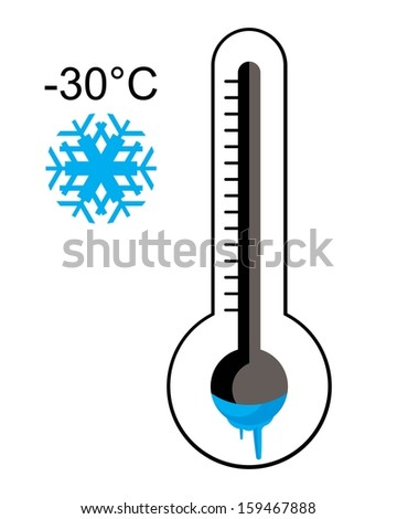ice cold thermometer  - stock vector