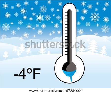 ice cold thermometer, winter landscape in background - stock vector