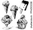 Ice cream and cake set. Hand drawing sketch vector illustration - stock vector