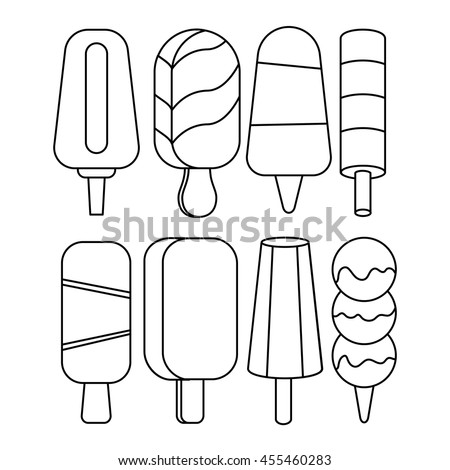 Ice Cream Popsicles Collection Isolated On Stock Vector ...