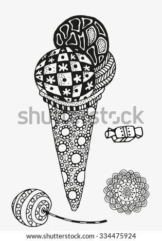 Ice cream and sweets. Artistically drawn, stylized. Set of vector sketches. Sketch by trace. Zentangle patterns.