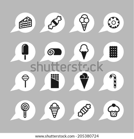 Ice cream and sweets icons - stock vector