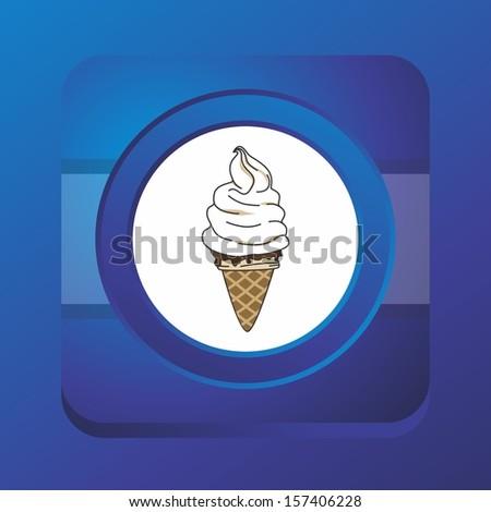 ice cream blue button art - stock vector