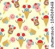 ice cream circus seamless pattern - stock vector