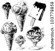 Ice cream collection. Hand drawing sketch vector illustration - stock vector