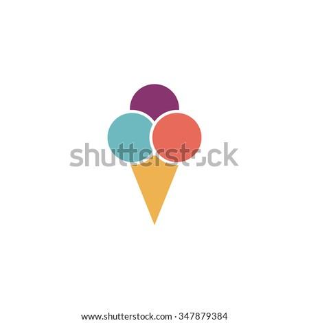 Ice cream Color vector icon on white background  - stock vector