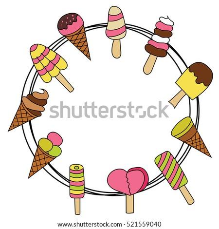 Ice Cream Design Set Cartoon Frame Stock Vector 521559040 - Shutterstock