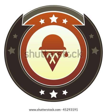 Ice cream, dessert, or party icon on round red and brown imperial vector button with star accents