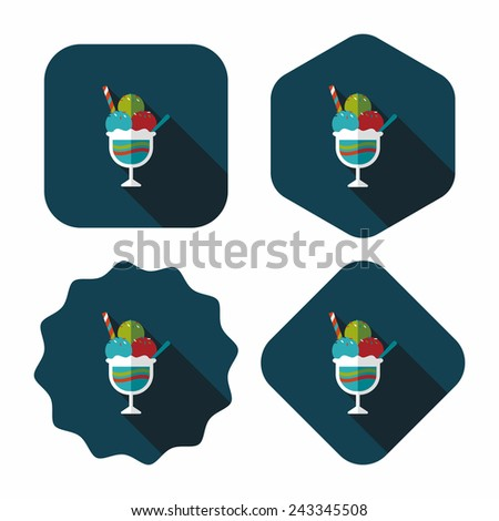 ice cream flat icon with long shadow,eps10 - stock vector