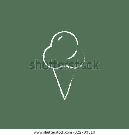 Ice cream hand drawn in chalk on a blackboard vector white icon isolated on a green background. - stock vector