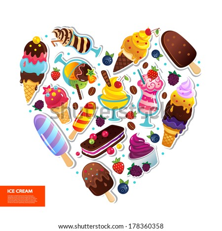 Ice cream heart illustration can be used as a greeting card - stock vector