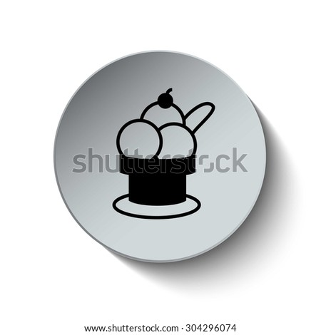 Ice cream icon. Dessert icon. Button. Vector illustration - stock vector