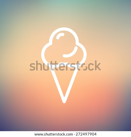 Ice cream icon thin line for web and mobile, modern minimalistic flat design. Vector white icon on gradient mesh background. - stock vector