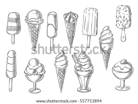 Ice cream icons of frozen creamy desserts, gelato ice cream, wafer cone, caramel eskimo or chocolate glaze sundae with nuts, whipped cream and fruit ice, fresh vanilla scoops in glass bowl