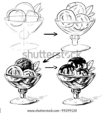 Ice Cream Glass Bowl Sketching Working Stock Vector ...