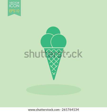 Ice cream in waffle cone vector icon. - stock vector
