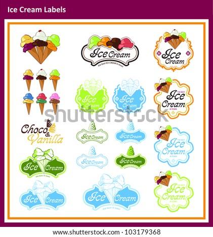 Ice Cream labels - stock vector