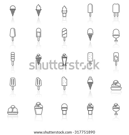 Ice cream line icons with reflect on white background, stock vector - stock vector