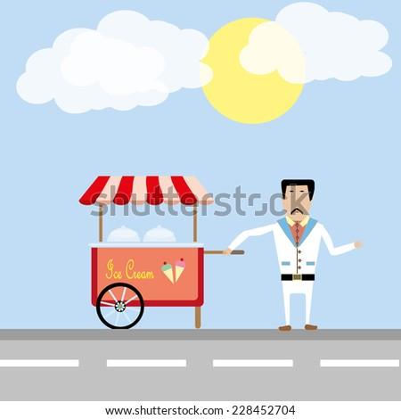 ice-cream man - stock vector