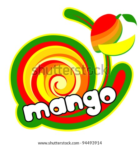 Ice cream mango. Background for design of packing. Vector illustration. - stock vector